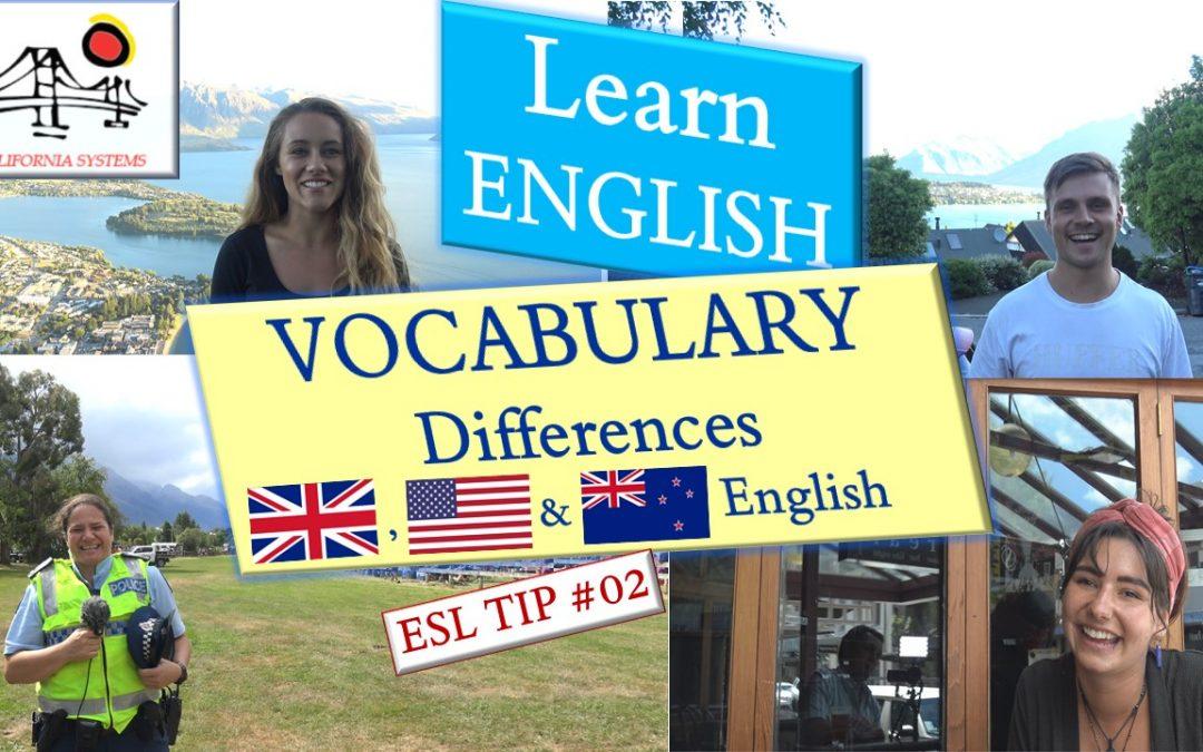 British vs American vs New Zealand English. Standard Vocabulary & Spelling Differences